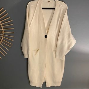 Free People Cream Thick Duster Chunky Cardigan